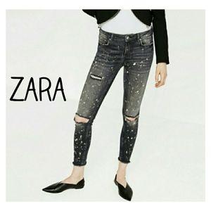 Zara Premium High Waist Black Bleach Skinny Jeans
